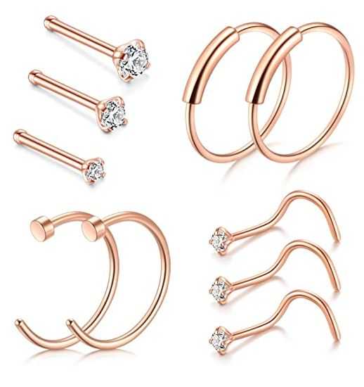 different sizes of nose rings