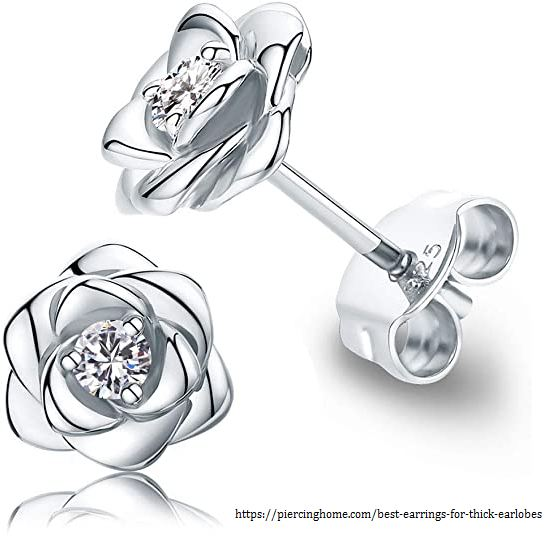 Gold Plated Sterling Silver Rose Flower Earring Studs