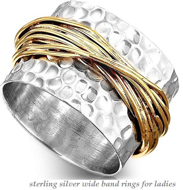 sterling silver wide band rings for ladies