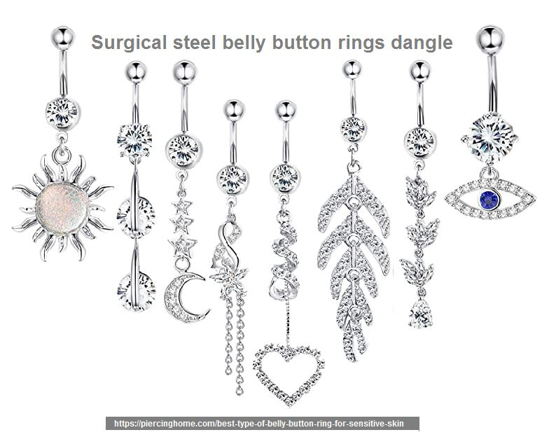 surgical steel belly button rings dangle