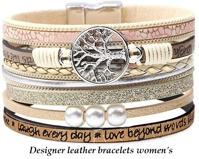 Designer leather bracelets womens
