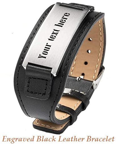 engraved black leather bracelet