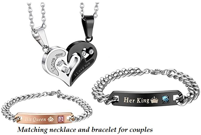 matching necklace and bracelet for couples