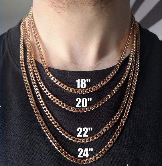 most common mens necklace length