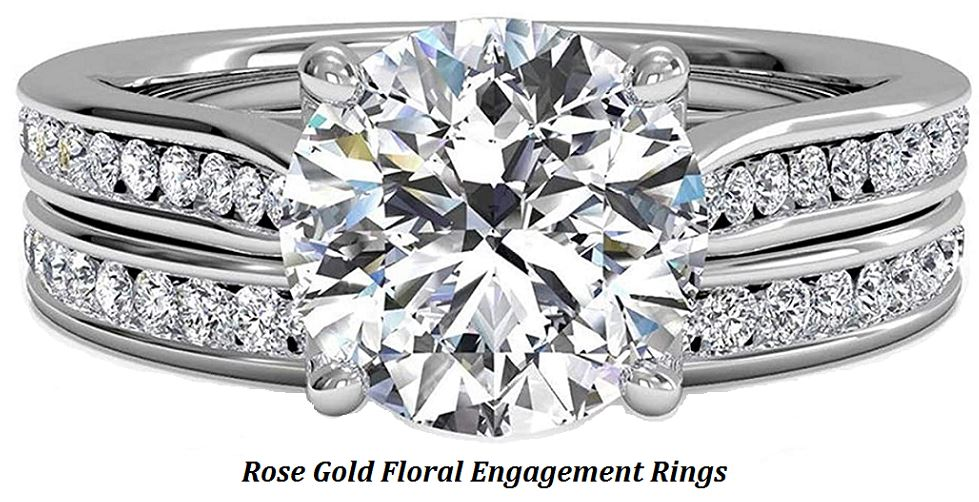 rose gold floral engagement rings