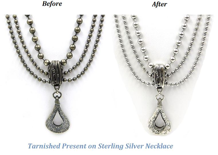 tarnished present on sterling silver necklace