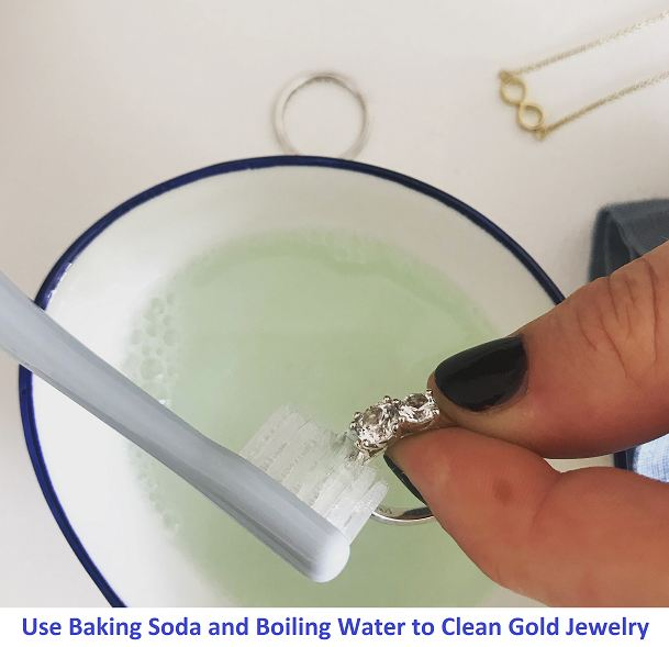 use baking soda and boiling water to clean gold jewelry