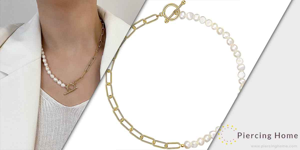 Cowlyn Paper clip Necklace Pearl Vintage Chunky Line Chain