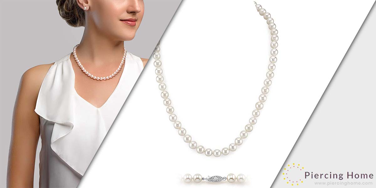The Pearl Source White Freshwater Cultured Pearl Necklace