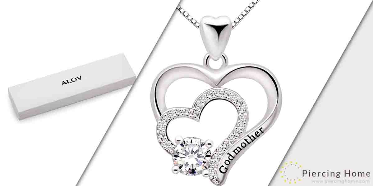 ALOV Jewelry Sterling Silver Godmother Cubic Zirconia Pendant Necklace