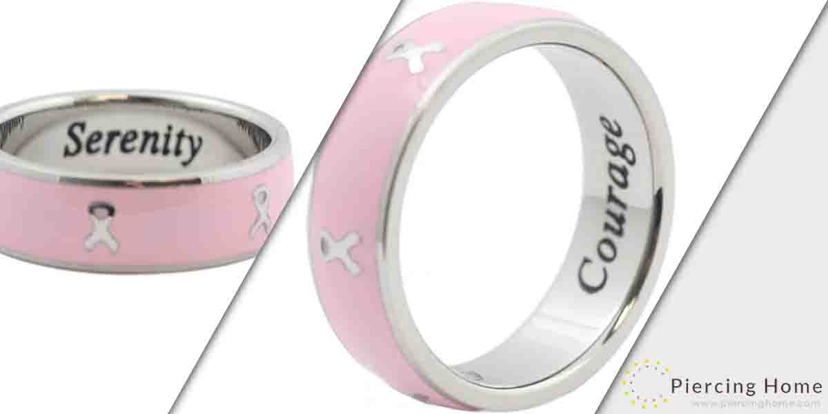Rush Industries Breast Cancer Awareness Ring Cancer Ribbon Pink Ring